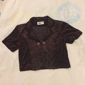 "Jackets & Blazers - Sheer brown and orange half jacket ""shrug"""